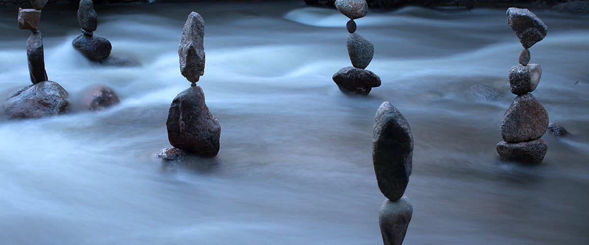 Rock Balances in Boulder Creek