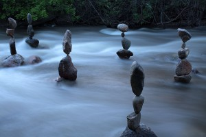 Rock Balances in Boulder Creek